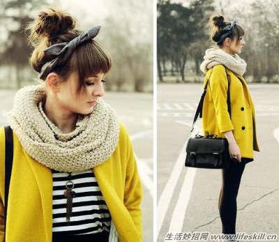 秋冬季五种围巾的搭配