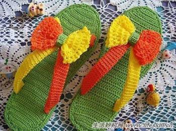 教你动手织一双漂亮的拖鞋
