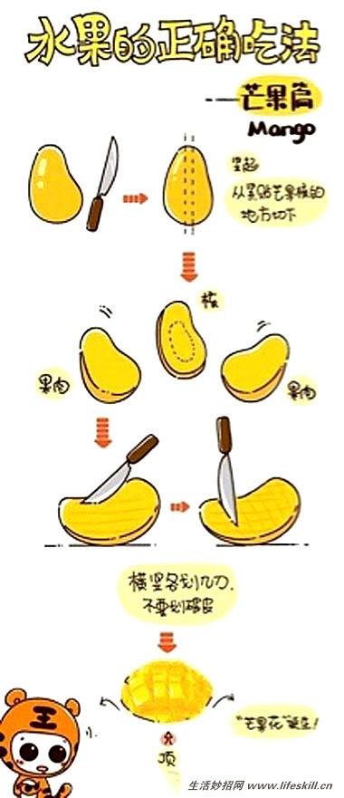 巧取芒果果肉的切法