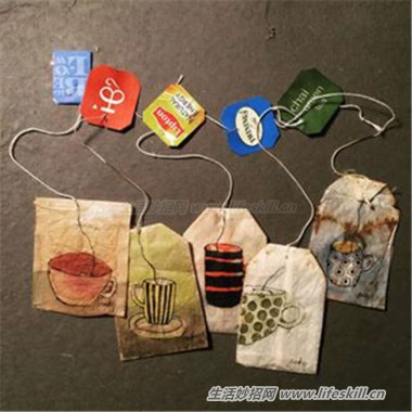 让泡过的茶包变成美丽的艺术品!