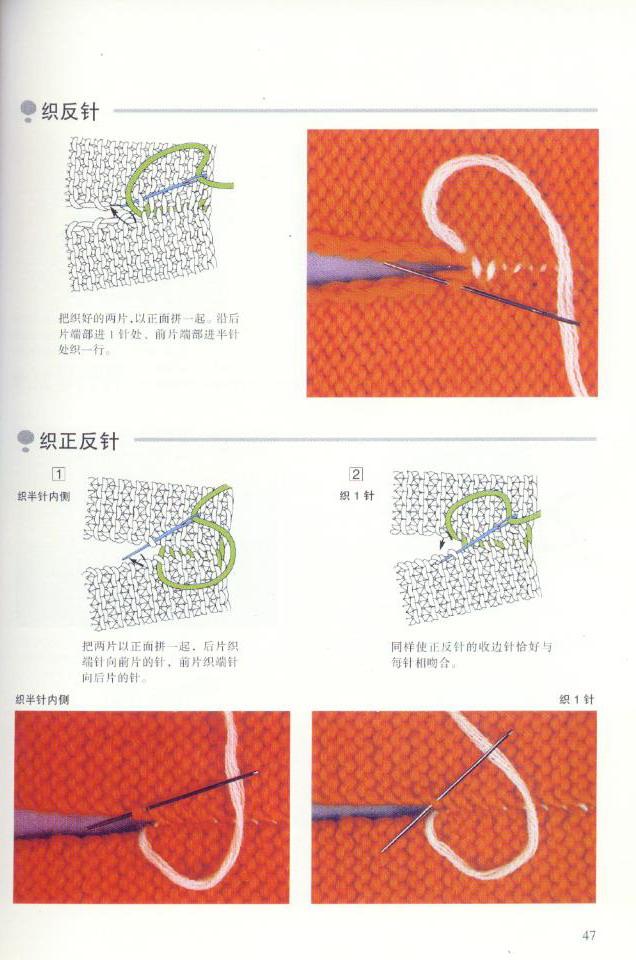 《图解棒针编织基础实例》之织片连接方法