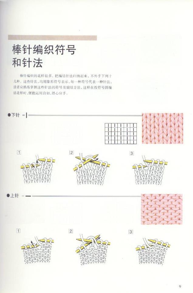 《图解棒针编织基础实例》之棒针编织符号和针法